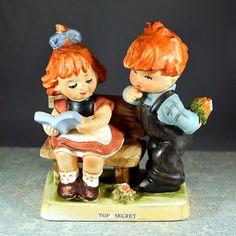 #Vintage #Antique #Retro #Erich #Stauffer #ARNART #Figurine  Top Secret #Redhead #Ceramic (Similar to #Hummel) by OneRustyNail on #Etsy