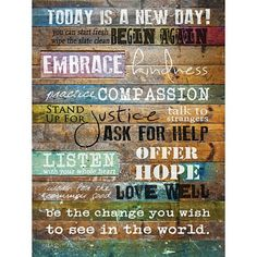 Today Is A New Day Inspirational Urban Distressed Look 12 x 16 Wood Sign