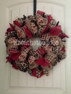 Burlap wreath w/ leopard and red! www.facebook.com/wreathstoadoor
