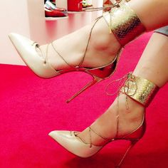 Stylish Champagne Lace Up Ankle Corset Stiletto Heels #Stiletto #Heels
