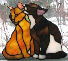 Domestic cats evolve the ability to hover to save them the bother of walking. Stained Glass Suncatchers, Faux Stained Glass, Stained Glass Designs, Stained Glass Panels, Stained Glass Projects, Stained Glass Patterns, Mosaic Art, Mosaic Glass, Fused Glass