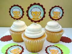 30 Ct Lion King Personalized Baby Shower Favors Decoration Cupcake Toppers