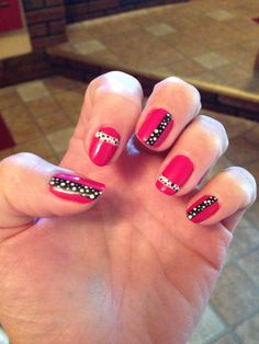 Black and white polka dot hot pink nails