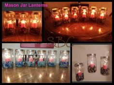 Click **Share** to *Save* this Awesome Idea to your Timeline!   DIY Mason Lanterns!! ... These are super easy and a great idea for fall!!  Materials vary on how you want your personalized lanterns to look, you can use pond stones, faux crystals, glitter, beads, whatever you want to fill the jars with.  First step is to acquire several mason jars, which you can leave clear or paint with a transparent paint if you'd like them colored.  With a little hot glue, secure a small pillared candle, ...