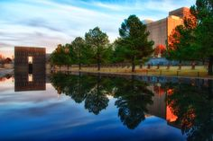 Oklahoma City Bombing Memorial.  The reflecting pond was soothing, yet sad.