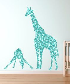 Take a look at this Blue Pattern Mom & Baby Giraffe Repositionable Fabric Decal Set on zulily today!