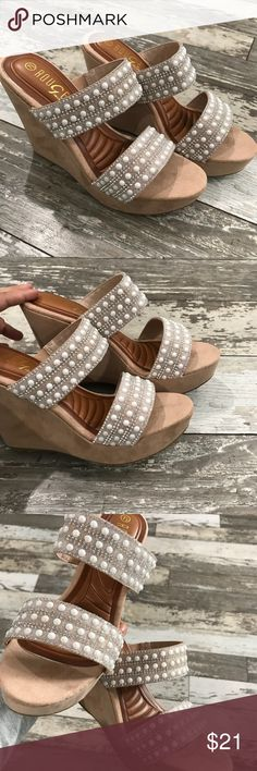 Adorable pearl/rhinestone tan wedges😍 Pics do not show the shine in these wedges!! So girly and glam!! I get compliments all the time when wearing my pair:( Shoes Wedges