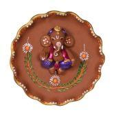 ExclusiveLane Terracotta Handpainted Round Plate Ganesha Wall D Arti Thali Decoration, Ganapati Decoration, Decoration For Ganpati, Kalash Decoration, Home Decor Items Online, Wall Decor Online, Plate Wall Decor, Plates On Wall, Clay Ganesha