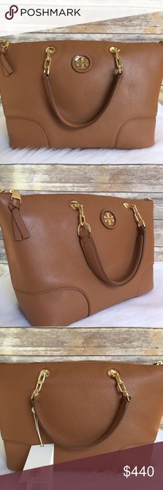 ebd58e73056f Tory Burch whipstitch logo small slouchy satchel New with tag Color  bark  brown Tory Burch