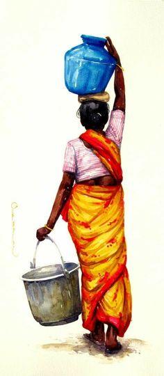 Indian Folk Art, Indian Artist, Art Sketches, Art Drawings, Indian Drawing, India Painting, Art Inspiration Drawing, India Art, Indian Art Paintings