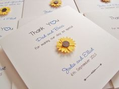 Sunflower Wedding Thank You Cards www.ohsopurrfect.co.uk