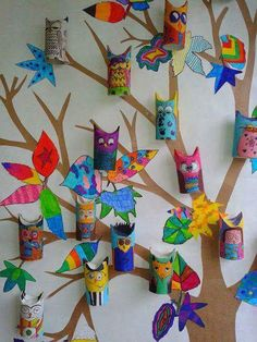 What to do with toilet paper roll? - What to do with toilet paper roll? Kids Crafts, Owl Crafts, Projects For Kids, Diy For Kids, Art Projects, Diy And Crafts, Arts And Crafts, Summer Crafts, Toddler Crafts