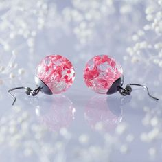 Lovely Real Flower Earrings  Pink Babys Breath Blossoms