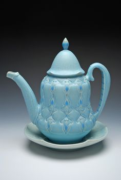 Image of Victorian modern Teapot & Saucer set, Aqua w. Blue stripes