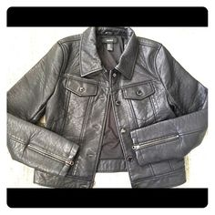 Faux Leather Motorcycle Jacket Badass motorcycle jacket, never worn. Fits like a small. Jackets & Coats
