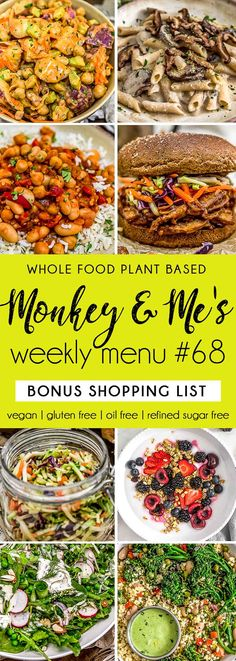 Monkey and Me's Menu 68 features delicious, wholesome recipes! All are Whole Food Plant Based Diet, vegan, oil free, refined sugar free & gluten free. Plant Based Whole Foods, Plant Based Eating, Plant Based Diet, Plant Based Recipes, Healthy Appetizers, Healthy Salad Recipes, Whole Food Recipes, Dog Recipes, Healthy Food