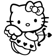 Hello Kitty Cupid Die Cut Vinyl Decal PV918 for Windows, Vehicle Windows, Vehicle Body Surfaces or just about any surface that is smooth and clean!