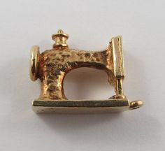 Sewing Machine 10K Gold Vintage Charm For Bracelet by SilverHillz