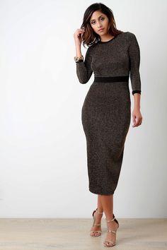 Glitter Rib Knit Quarter Sleeves Bodycon Dress