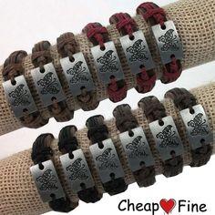 Hot!Men Lots 12pcs Fashion Butterfly Alloy Charm Genuine Leather &Hemp Bracelets #cheapfine #Bangle