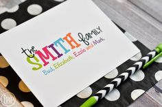 Family Stationery / Personalized Colorful Family Stationary / Personalized Note Cards / Colorful Stationery Set - Fun Family Stationery Note