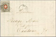 Switzerland Very fresh and with almost all dividing lines, lower right with colored pin hole (91. or 100. stamp of the sheet) and clean Alliance rhombus and posting stamp GENEVE 7 JANV 1852 on complete local cover in best condition. Stamps on beautiful covers with clear recognizable pin holeen might very rare be. Certificate Eichele. Katalog-no. 11 appraisal 1'500.- till 2'000.-  Lot condition   Dealer Rapp Auctions  Auction Starting Price: 1500.00 SFr