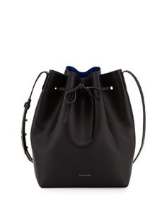 L0KQS Mansur Gavriel Structured Mini Leather Bucket Bag