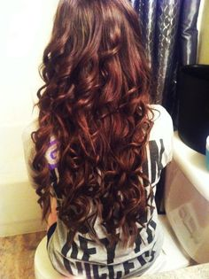 Lovely Dark Reddish-Brown Curls. I need this hair. I'm so tired of medium hair.I need long hair again!