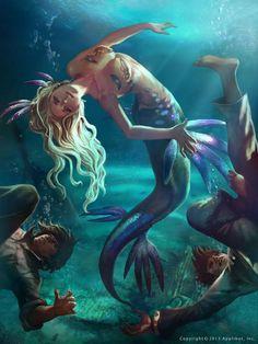 Beautiful Portraits by Docatto Mermaid Myth Mythical Mystical Legend Mermaids Siren Fantasy Mermaids Mermaid Man, Siren Mermaid, Fantasy Mermaids, Mermaids And Mermen, Magical Creatures, Sea Creatures, Mermaid Artwork, Mermaid Paintings, Underwater Creatures