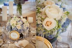 Blue Hydrangea, White Roses & Peony Centerpiece | A Tented Wauwinet Wedding with CECI New York, Cary Hazlegrove, Soiree Floral (www.soireefloral.com), Placesetters, Inc. (www.placesettersinc.com) and Nantucket Tents (www.nantuckettents.com). #soireefloral #cecinewyork #nantucketwedding #nantucket #wedding #stationery