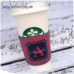 Coffee Cup Koozie, Solo Cup Koozie, Wine Glass Koozie, Coffee Cup Cozy, Monogrammed / Personalized Koozie on Etsy, $14.00