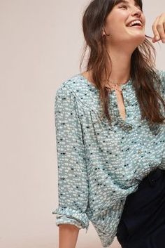 88860907 See this Colloquial Yoked Buttondown from Anthropologie. Winter Wonderland,  Clothes For Sale, Ruffle