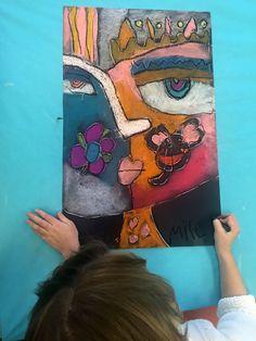 Sandra Silberzweig inspired self portraits from small hands big art - a fun chalk pastel art lesson! Self Portrait Kids, Portraits For Kids, Kids Art Class, Art For Kids, Kunst Party, Chalk Pastel Art, Abstract Face Art, 3rd Grade Art, Sandra Silberzweig