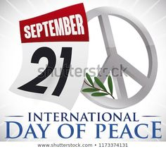 Loose-leaf calendar with reminder date for International Peace Day with silver peace symbol and olive branch. Calendar Reminder, International Day Of Peace, Dating, Ads, Stock Photos, Silver, Quotes, Money