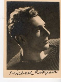"""Michael Redgrave """"British Actor"""" Vintage Small Photo signed VERY RARE"""