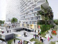 movimiento, ritmo, muros verdes, frescura, microclima, acomodo panal de abeja contemporaneo, firme permeable verde..