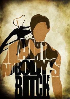 The Walking Dead Daryl Dixon Print - Norman Reedus as Daryl Dixon from TWD - Minimalist Illustration Typography Art Print  Poster