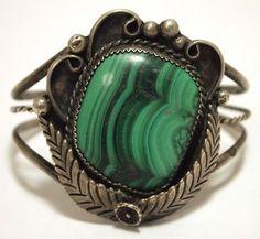 Vintage Old Pawn Navajo Malachite Sterling Silver Cuff Bracelet
