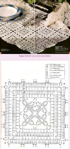 Square Motif Pattern Tablecloth (Graph directions only)
