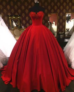quinceanera dresses,lovely sweetheart red wedding dresses ball gowns,vintage wedding gowns,satin wedding dress,sexy wedding dresses Dresses Near Me Red Ball Gowns, Ball Gowns Prom, Ball Dresses, Red Gowns, Cheap Prom Dresses, Quinceanera Dresses, Sexy Dresses, Corset Dresses, Red Sweet 16 Dresses