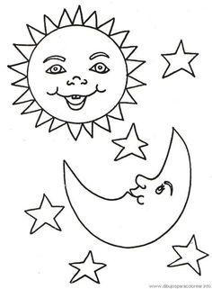 El sol y la luna - Dibujalia - Dibujos para colorear - Elementos y ...