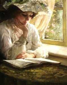 """Lady Reading by a Window"" (detail) by Thomas Benjamin Kennington (1856-1916)."