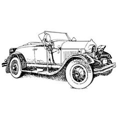 Roadster-Unmounted Colouring Pics, Coloring Book Pages, Vintage Images, Vintage Art, Book Sculpture, Car Drawings, Car Sketch, Vintage Stamps, Car Painting