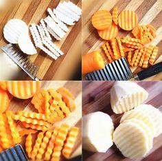 Cooking Tool Useful  Kitchen Gadget Vegetable Shredders Fruit Slicers Corrugated Stainless Steel Sharp Knife Plastic Handle