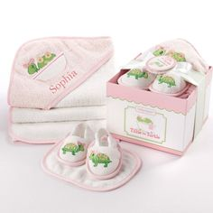 Our Tillie the Turtle bathtime baby gift has everything mom needs to take baby from tub to cuddle time!