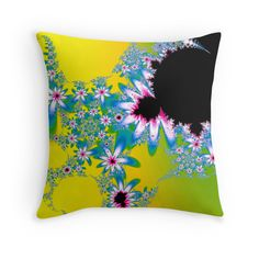 Blue Fractal Flowers on Yellow Background throw pillow by Tracey Lee Art Designs