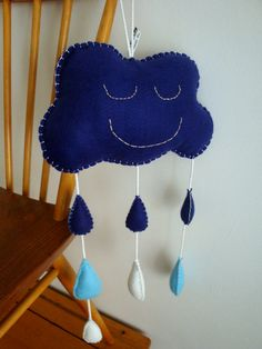 Large Sleepy Rain Cloud Mobile // Blue Felt by StampAndStitch, Cloud Mobile, Rain Clouds, Uk Shop, Clever, Felt, Unique Jewelry, Handmade Gifts, Crafts, Blue