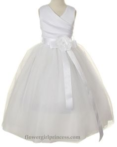 Flower Girl Dresses - Communion Dresses - Flower Girl Dresses Discount Cheap Designer Dressforless - Aberdeen - White Satin and Tulle Flower...