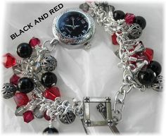 Black,Red,and Silver Watch Toggle Bracelet | jnldesigns - Jewelry on ArtFire