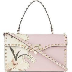 VALENTINO Rockstud floral handbag ($2,785) ❤ liked on Polyvore featuring bags, handbags, light pink, leather purses, studded leather handbag, white leather handbags, floral leather handbags and studded purse